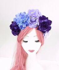 Large Purple Rose Flower Halloween Sugar Skull Headband Hair Band Crown 3833
