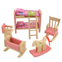 Wooden Doll Bathroom Furniture Dollhouse Miniature for Kids Toy (Beds)