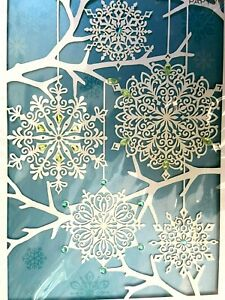 Gorgeous Laser-Cut Papyrus Christmas Holiday Card - Snowflakes with Tiny Gems