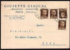 STORIA POSTALE LUOGOTENENZA 1945 Cartolina da Pescia per Roma (FILo)