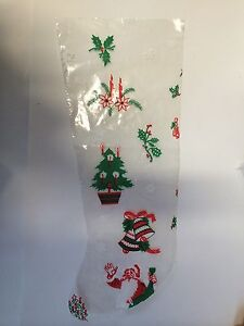 LARGE X'MAS PLASTIC STOCKING FOR CANDYS OR PURELY DECORATION
