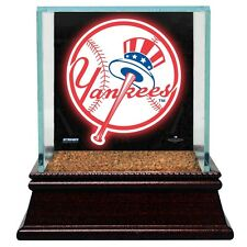 NY Yankees  Glass Baseball Display Case With Game Used Field Dirt Steiner