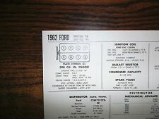 1962 Ford Series Models Special 390 Ci V8 Sun Tune Up Chart Great Shape!