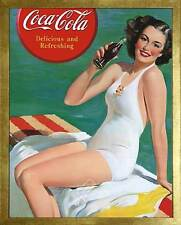 Coca-Cola: Delicious and Refreshing. Framed Vintage 50s Pin-Up Style AD Poster
