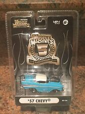 1:64 MUSCLE MACHINES 5TH ANNIVERSARY BLOWN / SUPERCHARGED 57 Chevy In Blue