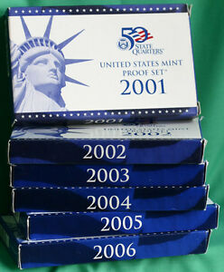 2001 to 2006 - S US PROOF SETS with 62 Coins Box & COA 6 Complete Coin Sets