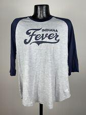 Women's Adidas Indiana Fever WNBA Script Logo 3/4 Sleeve Gray/Blue Tee NWOT XL