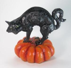 "Black Cat Figurine Standing on Orange Halloween Pumpkin 7"" Tall"