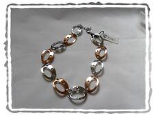 Collier Fantaisie Bicolore  Ovales Petites Fleurs   TSC Jewels Neuf