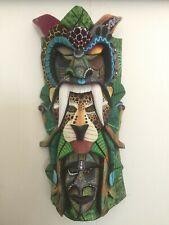 Boruca Mask Three Heads- Costa Rica Indian Hand Painted Art Ceremonial Mask
