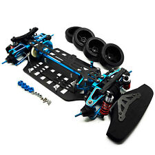 Alloy & Carbon Shaft Drive 1/10 4WD Touring Car Frame Kit for TT01 Blue