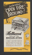 Holliwood Infra-Red Ray Broiler Oven Ad Sheet 1952