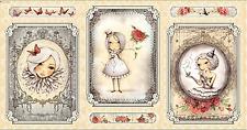 """La Vie En Rose Girl Picture Patch Cream 100% Cotton Fabric Panel 44"""" X 23.5"""""""