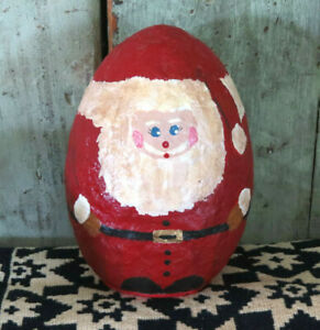 Vintage Grubby Primitive paper mache Santa Claus Painted Egg Christmas Decor