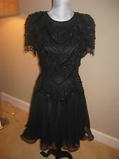 NITELINE DELLA ROUFOGALI BLACK BEADED SEQUIN FORMAL COCKTAIL Party Dress Size 6P