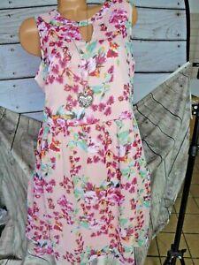 Aniston Robe Femmes de Mousseline sans Manches Rose à Motif (868) (Def ) Grandes