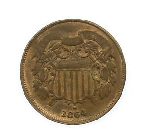 """United States USA 1864 """"Union Shield"""" 2 Cents Coin #12"""