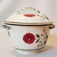 Early 19th Century English Pearlware 4-Color Sprig Covered Sugar Strap Handles