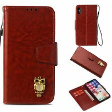 Brown Retro Leather case cover with strap owl for iphone X Samsung S9 S8 LG K20