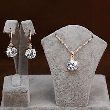 Women Elegant Jewelry White zircon Statement Bib Chain Pendant Necklace wedding