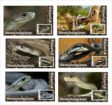2020 BLACK MAMBA 6 SOUVENIR SHEETS UNPERFORATED  WILD ANIMALS SNAKES REPTILES