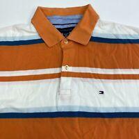 Tommy Hilfiger Polo Shirt Men's Size 2XL XXL Short Sleeve Orange White Blue