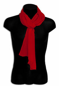 Pashmina Silk Scarf Foulard Elegant Man Woman Unisex Solid Colour Red