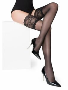 Elegant sexy classic hold ups with deep lace and sandal toe- Paris 03 by Marilyn