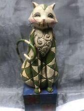"Jim Shore ""Felicity� Green Cat Figurine Heartwood Creek 114423, 6 3/4� Tall"