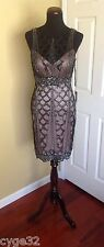 NEW SUE WONG BLACK ROSE BEADED SEQUINS SHORT COCKTAIL PARTY EVENING  DRESS 10