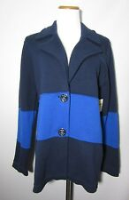 NWT COLDWATER CREEK Color Block Sweater Jacket Sz L 14 Nautical Buttons $129.95
