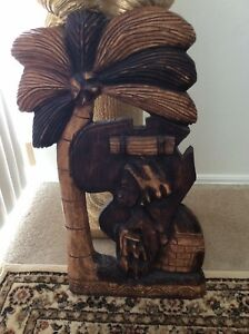 VINTAGE WOOD SCULPTURE AFRICAN WOMAN HAND CARVED IMPORTED FROM GHANA 26 INCHES