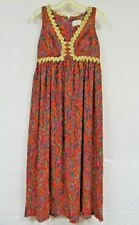 Vintage 60s 70s Maxi Dress Pleated Psychedelic Paisley Gold Metallic Trim SAKS