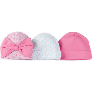 Gerber Baby Girl's 3 Pack Caps Size 0-6 Months Flowers, Dots, Solid Adorable