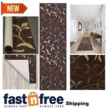 Non Slip Carpet Runners Long Modern Design Rugs Hallway Area Rubber Chocolate