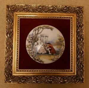 Vintage Staffordshire Fine Ceramics Wall Plaque Picture Gilt Framed