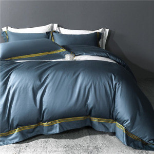 Luxury Duvet Cover Bedding Set Egyptian Cotton Embroidered Bedspread Satin 4pcs