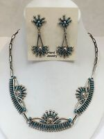 Native American Sterling Silver Zuni Needle Point Turquoise Necklace Set