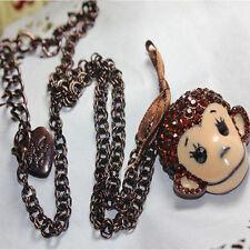 Adorable Crystal Gem Animal Monkey Necklace