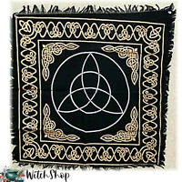 """Traditional Black Celtic Triquetra Altar Cloth 24""""x24"""" Wicca Witchcraft Pagan"""