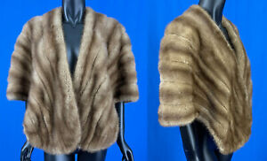 Edwards & Kroll Beverly Hills 1950s Mink Fur Evening Stole Shawl Cape Wrap VTG
