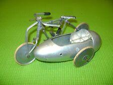 JOUET ANCIEN AUTO-CYCLE PARIS MOTO SIDE CAR EN ALUMINIUM-TCO-PAYA-JML