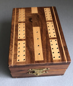 """Inlaid Cribbage Folding Board SET. Wooden Pegs, Cards. New Other 5""""x3 1/2"""" x2"""""""