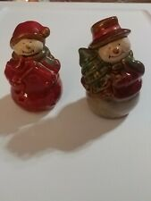 Snowpeople ceramic Christmas salt and pepper shakers