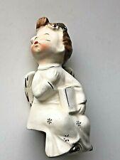Vintage Boy Angel Shelf Sitting Kissing Angel Holding A Book Ceramic Japan
