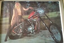 Blonde On Bike. Fringe Vest Vintage Poster