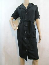 SPIEGEL Black Short Sleeve Button-down Knit Shirt Dress, Size 12
