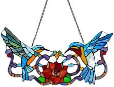 Stained Glass Panel for Window Tiffany Style Suncatchers Victorian Hummingbirds