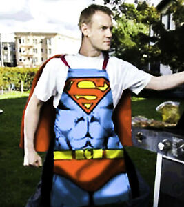 Superman Cape Apron | Costume Printed Men's Adult BBQ Apron | DC Superhero