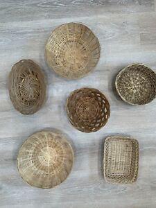 Vintage Lot of 6 Round Square Wicker Baskets Boho Farmhouse Wall Decor